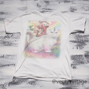 Deadpool Unicorn Cat Rainbow T-Shirt Women's S